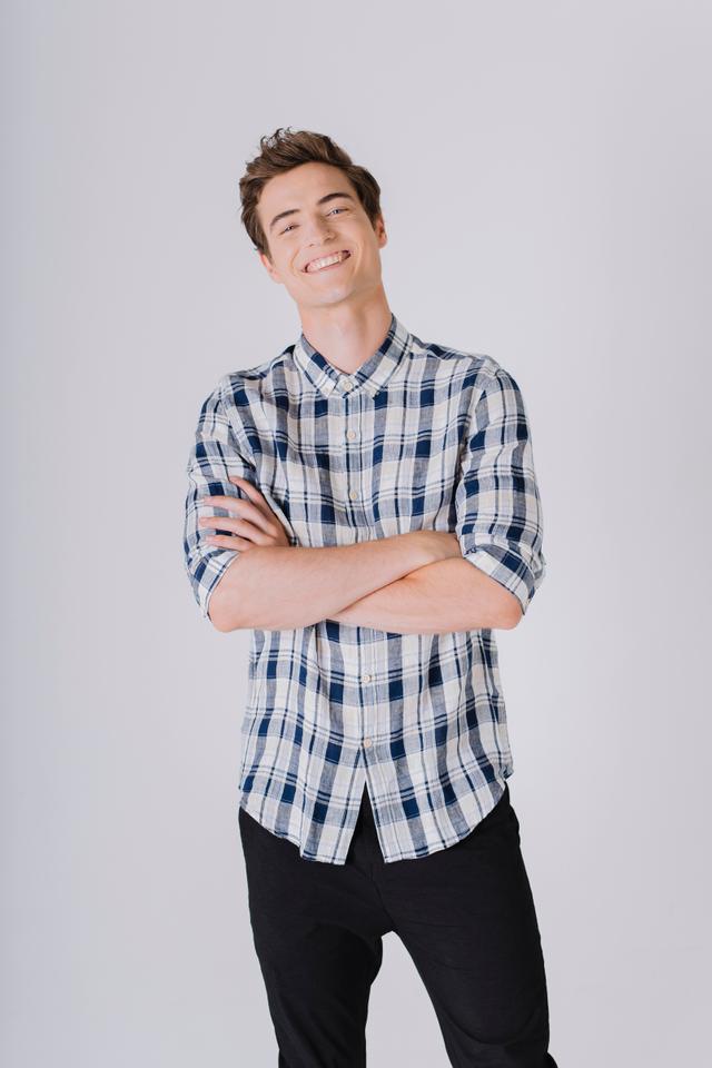 Checkered Half Sleeves Linen Shirt