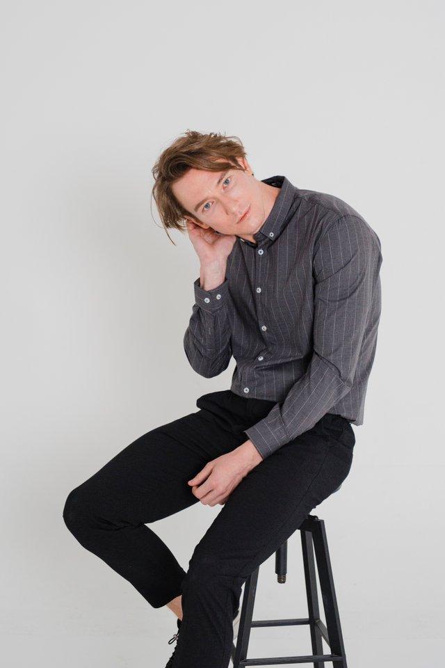 Grey Striped Formal Long Sleeve Shirt