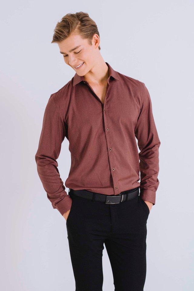 Brick Red Button Down Long Sleeve Shirt
