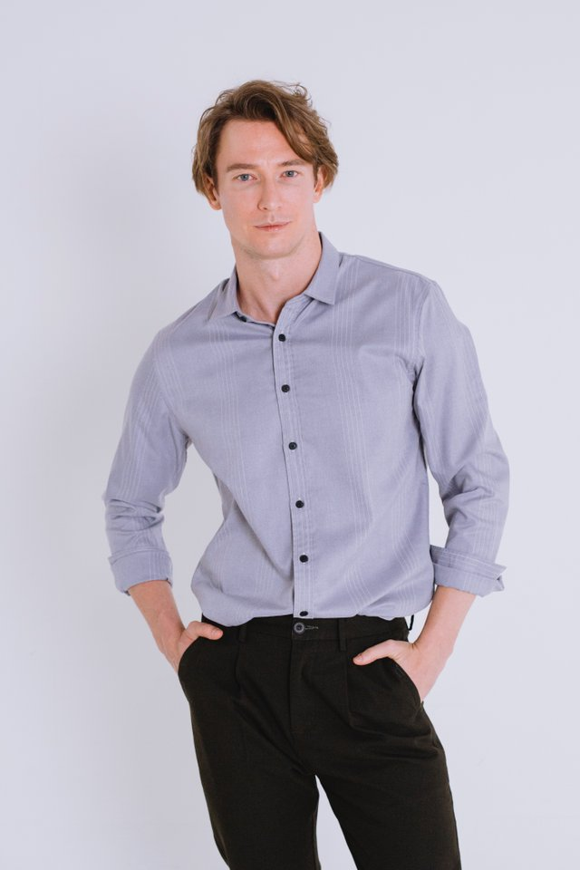 Light Grey Button Down Long Sleeve Shirt