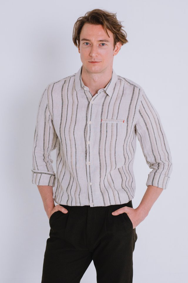 Beige Striped Linen Shirt with Long Sleeves