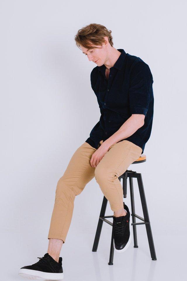 Navy Corduroy Half Sleeve Shirt