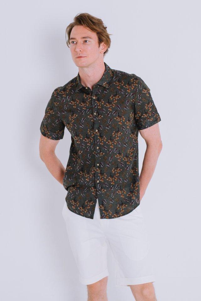 Moss Floral Prints Linen Shirt
