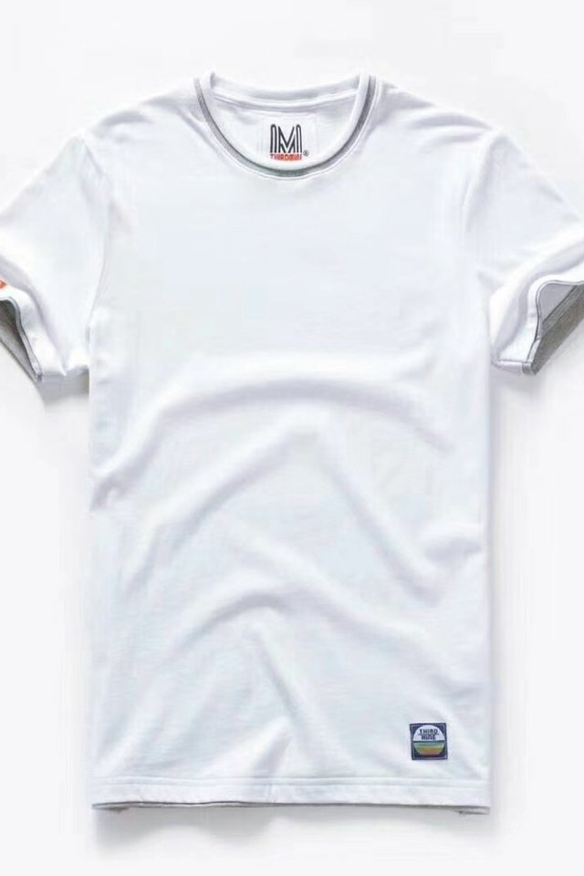 Frost White Dual Tone Crew Neck Tee Shirt
