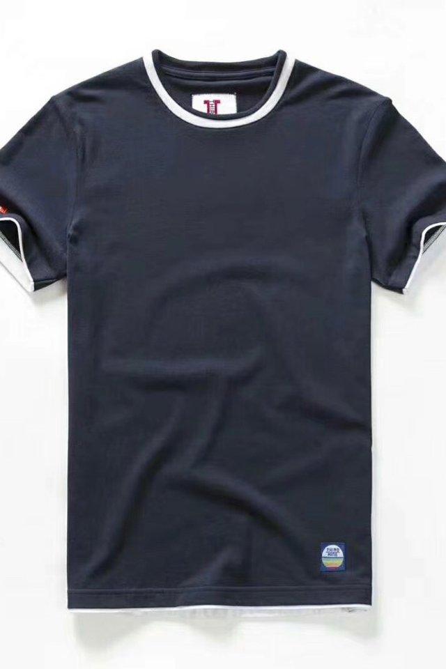 Space Blue Dual Tone Crew Neck Tee Shirt