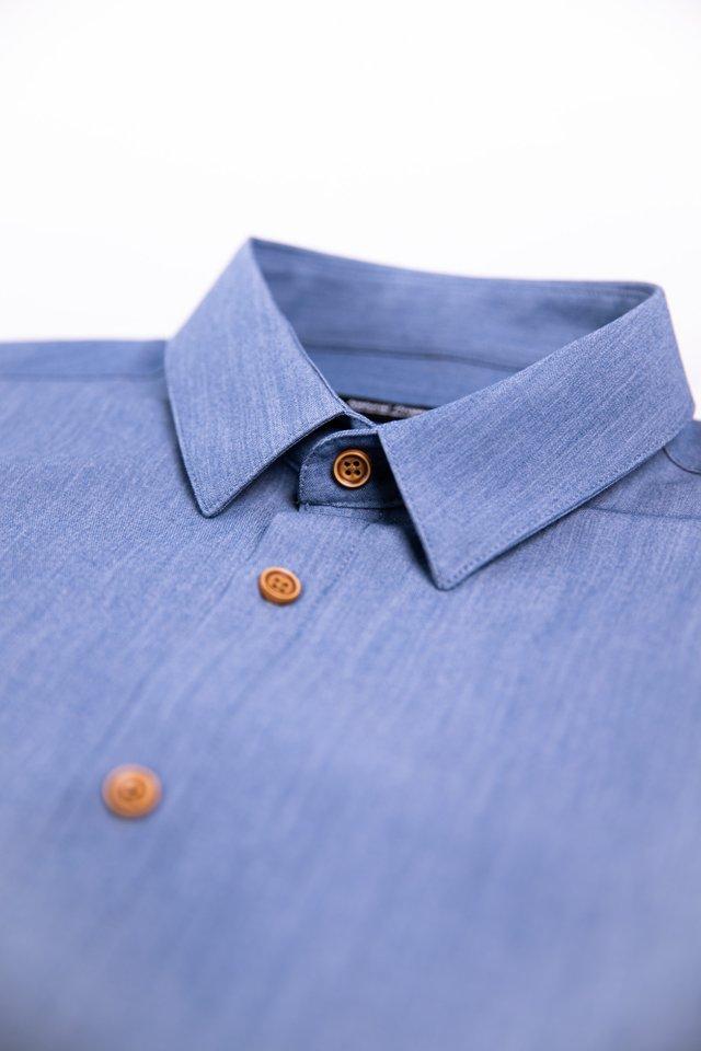 Button Down Denim Half Sleeve Shirt
