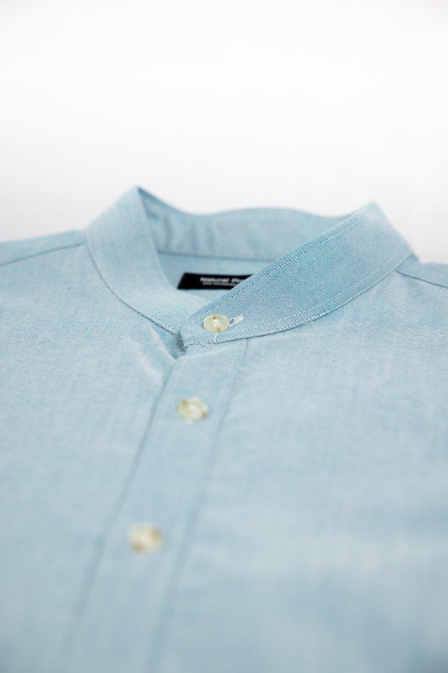 Lake Blue Mandarin Collar Short Sleeve Shirt