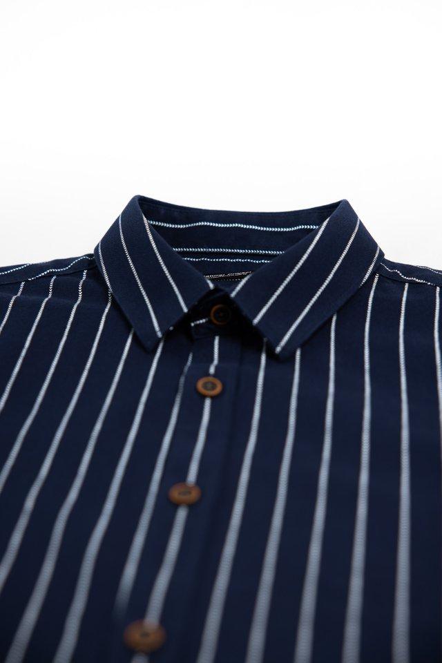 Navy Striped Half Sleeve Shirt