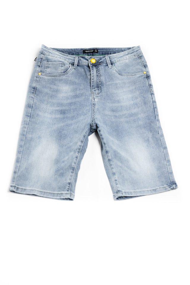 Alpha M Denim Shorts in Blue Grey