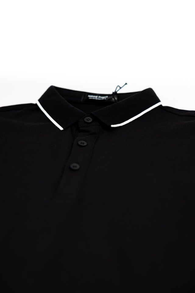 White Outline Polo Tee Shirt in Black