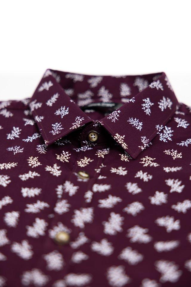 Garden Prints Short Sleeve Shirt in Maroon
